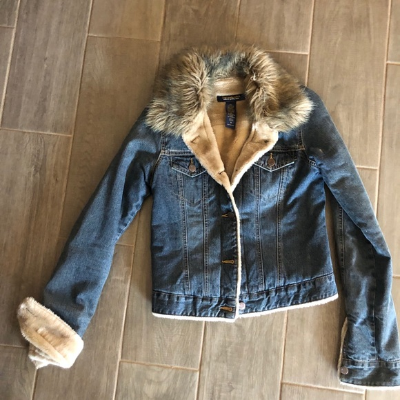 Abercrombie and Fitch faux fur jean jacket